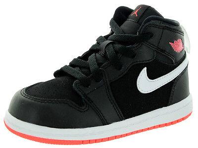 Nike Air Jordan 1 Mid BT Schwarz Lava Kleinkind Basketballschuhe 705324-028 (Kleinkind Nike Basketball Schuhe)