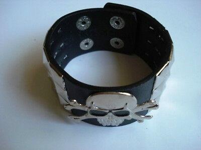 Skull Checkered Studded Leather Bracelet