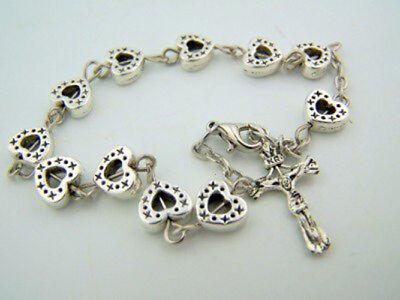 Heart Bead Silver Tone Daily Prayer Rosary Bracelet Catholic Gift, 8 (Pearl Silver Rosary Bracelets)