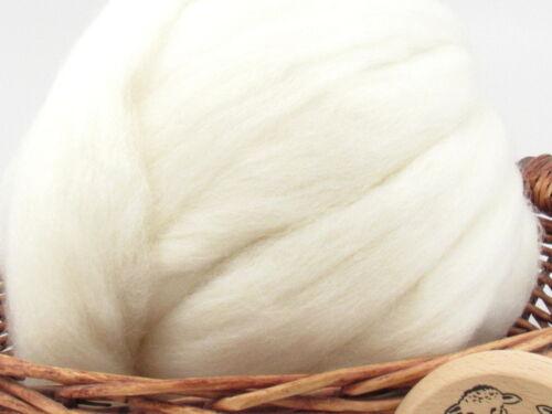 White Shetland Wool Top Roving - Undyed Natural Spinning Fiber / 1oz