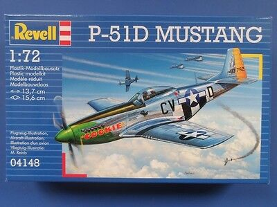 Revell 04148 P-51D Mustang Aircraft Plastic Kit No Paints 1/72 Scale T48 Post