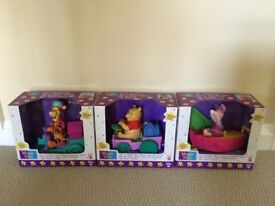 Winnie the Pooh, Tigger & Piglet Ride 'N' Wobble Train Set by Mattel - Brand New