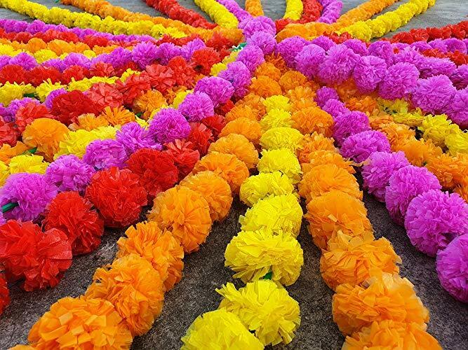 5 Pc Set Artificial Marigold Flower 5 feet long Garland Oran
