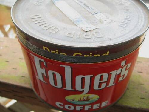 VINTAGE FOLGERS 1 LB COFFEE CAN, WITH LID ~ FREE SHIPPING!