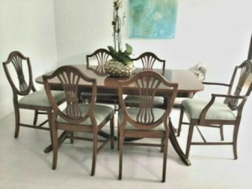 Dining Room Set Duncan Phyfe 2 Pedestal Table, Leaf, 6 shield back chairs, More!