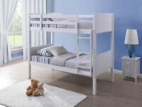 ⭐🌈CLOSEOUT SALE YOU WOODEN BUNK BED SPLIT INTO 2 SINGLES WHITE HARD WOOD BUNKBED