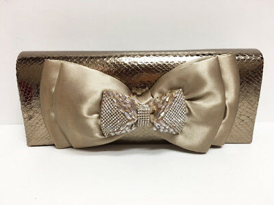 New Whittall & Shon Taupe Metallic Snake Beaded Bow Evening BAG Clutch (Snake Bow Clutch)