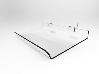 Set Of 4 Slanted 16 X 12 Clear Lucite Angled Slatwall Store Display Shelves