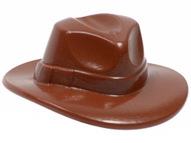 LEGO-MINIFIGURES SERIES x 1 BROWN HEADGEAR HAT-WIDE BRIM OUTBACK STYLE FEDORA