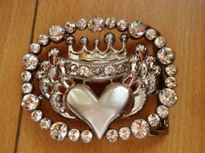- Rhinestone Crown and Heart Belt Buckle Clear Crystal