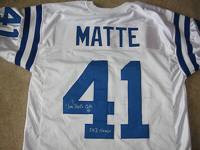 Colts Tom Matte signed white jersey  W/COA