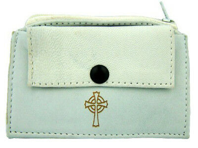 White Leather Rosary Case with Zipper Snap Closure and Gold Budded Cross Design