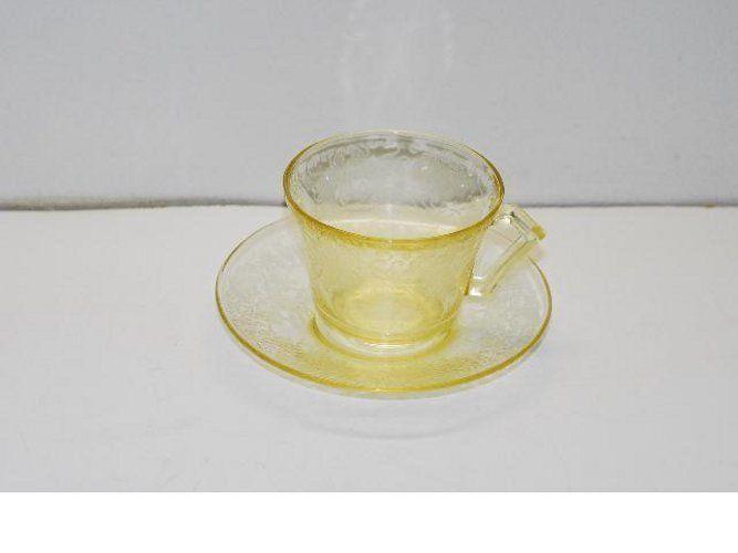 Hazel Atlas Florentine Poppy Yellow Cup & Saucer