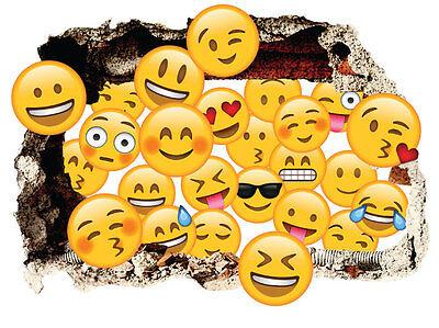 Emoji Emoticon Hole in the Wall Sticker 3D Bedroom Boys Girls Vinyl Art Decal
