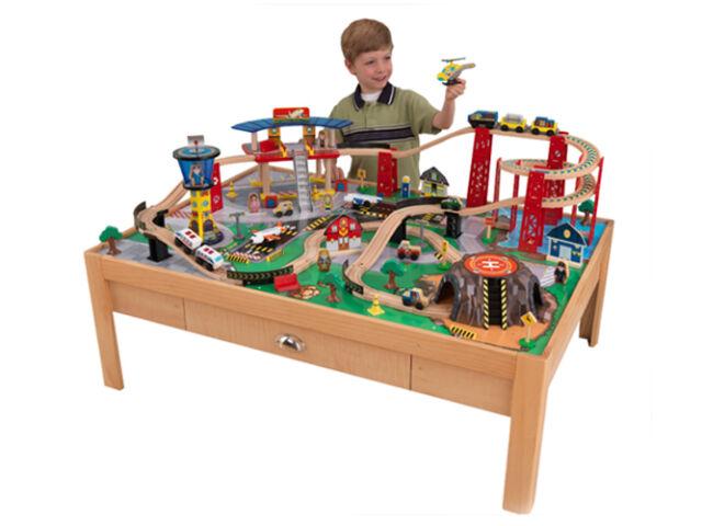 KidKraft Airport Express Wood Train Table U0026 Toy Set | 17975