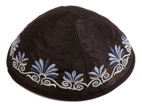 Jewish Embroidered Black Kippah - Made in Israel - Raw Silk