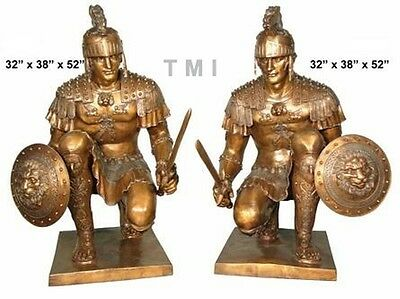 "52""H PAIR OF BRONZE SPARTAN ROMAN WARRIORS SCULPTURE TROJAN SOLDIER W/SWORD"