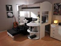 Stompa Casa 4 High Sleeper Cabin Bed - black cushions