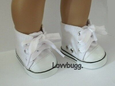 Lovvbugg White Sneakers High Tops for American Girl 18 inch and Bitty Baby 15 inch Doll Shoes Clothes