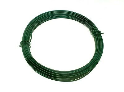 10  ROLLS GREEN PLASTIC COATED GARDEN WIRE 1.4MM X 15M