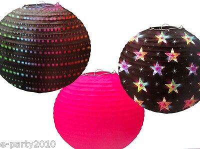 BLACK AND PINK DISCO PAPER LANTERNS (3) ~ Birthday Party Supplies - Disco Paper