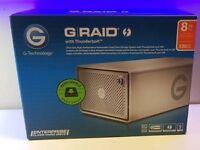 **NEW SEALED - G-RAID GRAID G-TECHNOLOGY 8TB - USB 3 3.0 THUNDERBOLT RAID HARD DRIVE - 0G04086**