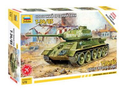 Zvezda Panzer Tank T-34 / 85 Soviet Medium Tank 1:72 Plastik Model Bausatz 5039