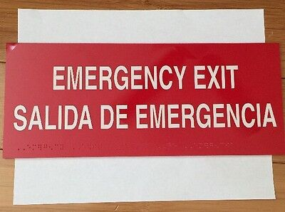 Emergency Exit Sign In English Spanish Braille Self Adhering New