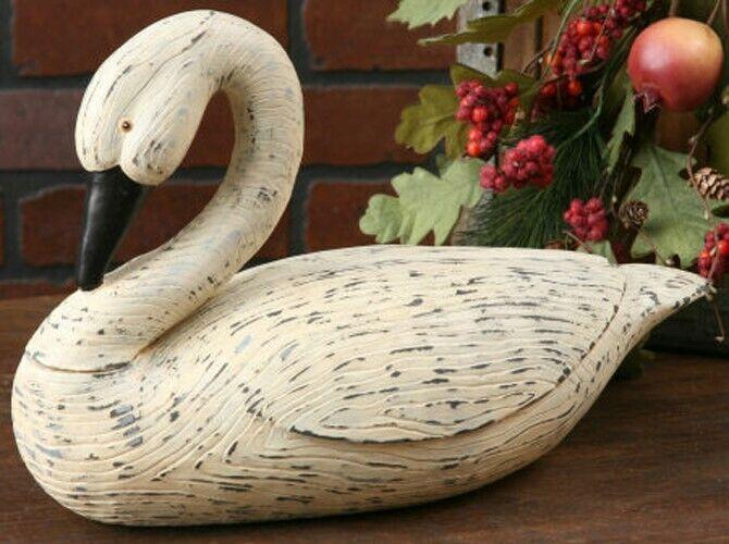 Primitive White Large Bent Neck Swan Goose Folk Art Country Resin