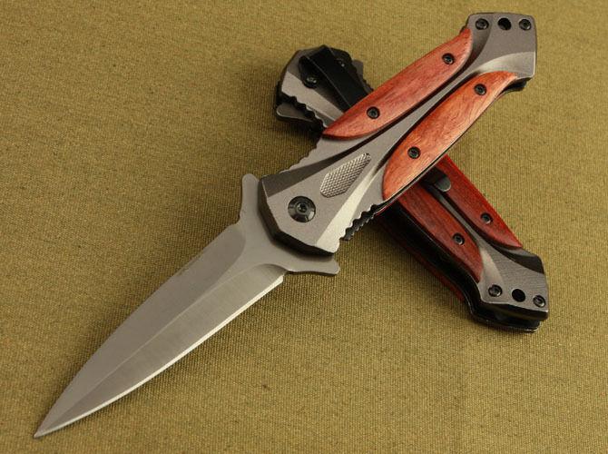 New Assisted Opening Wood Handle Spring Pocket Knife EDC VTF46
