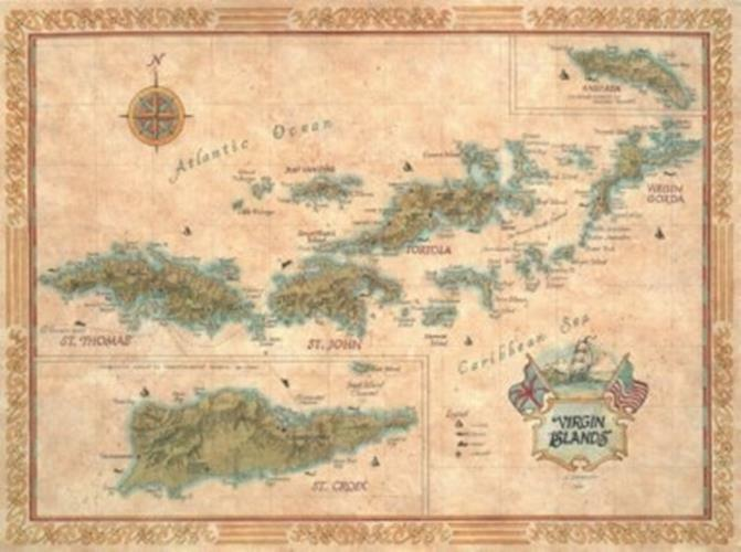 Antique Style Map of The Virgin Islands