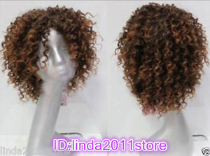 New Fashion Charm Women's Short Brown Natural afro curly synthetic hair wigs+cap