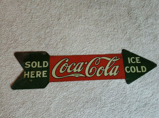 COCA-COLA  1927 ORIGINAL METAL  ARROW SIGN -NOT REPRODUCTION!!