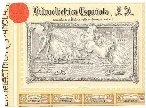 LOT! 10 GOLD 1907(67) SPANISH HYDROELECTIRC BONDS w EMBOSS RED SEAL/COUPS! 1.99!