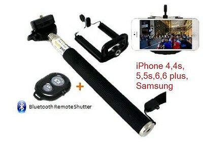 iPhone 5s 6 6s 7 PLUS SELFIE STICK + BLUETOOTH SHUTTER REMOTE TELESCOPIC MONOPOD