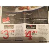20x Save RED LOBSTER  $4.00 & $3.00 OFF Seafood Restaurant 6/2/18 Exp 6/2/18