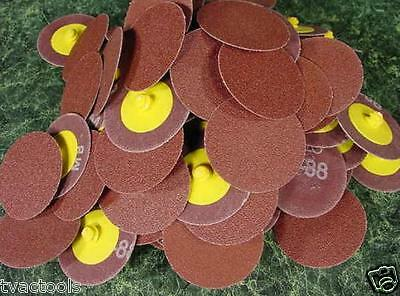 """100pc 2 """" ROLL LOCK SANDING DISC 80 Grit MADE IN USA Heavy Duty Aluminum Oxide"""