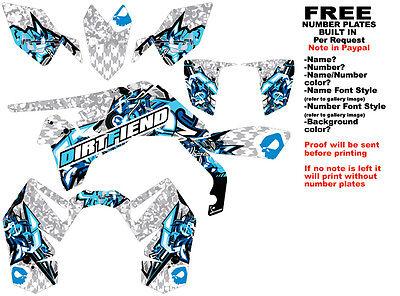 DFR BOMBER GRAPHIC KIT WHITE/BLUE SIDES/FENDERS SUZUKI LTR450 LTR 450