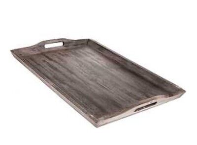 XXL Off White Taupe Rustic Wood Serving Tray, Ottoman Distressed Decor NEW -