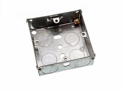 Pkge of 50 X Flush Mount Metal Pattress Electric Back Box Single 1 Gang 25Mm