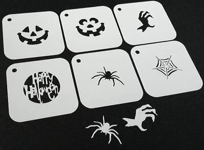 Halloween Pumpkin Spider Stencils (#1 Set of 6pcs HALLOWEEN Reusable Stencils Spider Web Pumpkin Text Face)