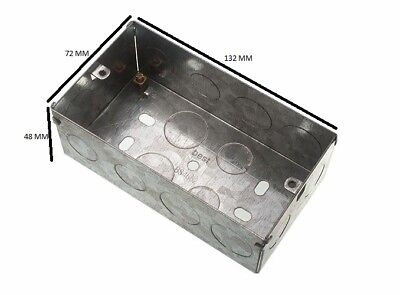 Flush Mount Metal Pattress Electric Back Box Double 2 Gang 47mm Pack Of 20