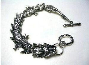 Mens-pretty-Tibetan-Tibet-Silver-Bracelets-dragon-Bangle-Bracelet