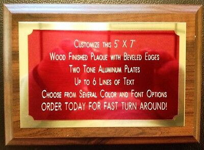 5x7 Recognition Award Plaque Trophy With 2 Tone Aluminum Engraved Plates