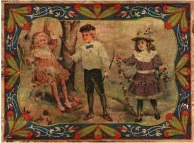 2 Girls Boy print decal sticker trunk liner paper chest steamer antique vintage  - Girls Trunk