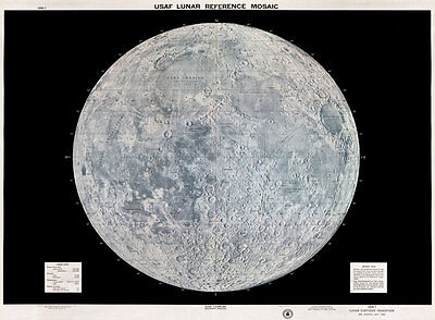 MP20 Vintage 1960's USAF Lunar Moon Map Poster Re-Print A1 A2 A3