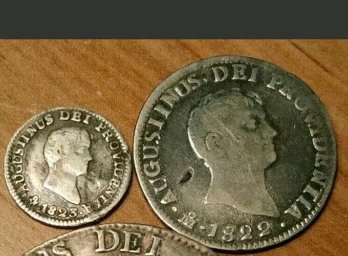 Mexico 1822 1823 1/2 & 2 Reales Iturbide Silver Mexican Coins