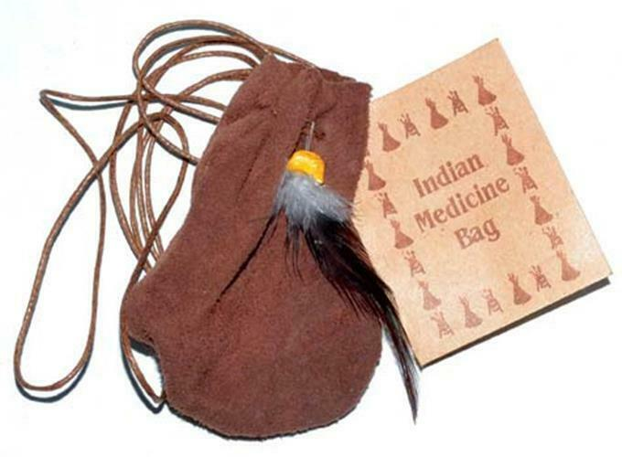 """Soft Leather Medicine Dream Bag Brown Indian 3"""" Tote With Cord"""
