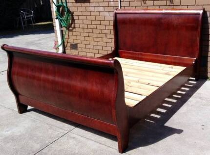 nice solid timber queen bed with mattress