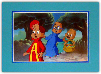 (Alvin & The Chipmunks Hand Painted Matted Animation Cel)